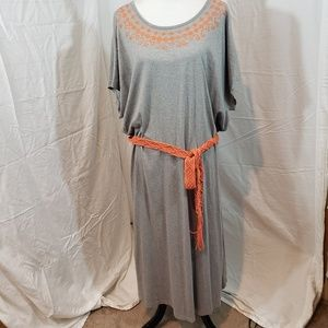 Blair 3XL grey/orange belted maxi dress